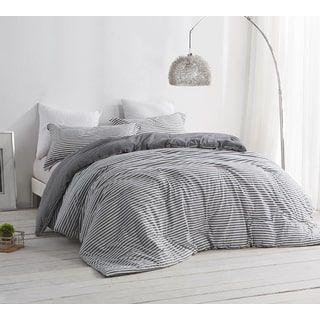 Byb Carbon Stone Grey And White Stripe Comforter Dorm Room Bedding College Bedding Sets Bed Linens Luxury