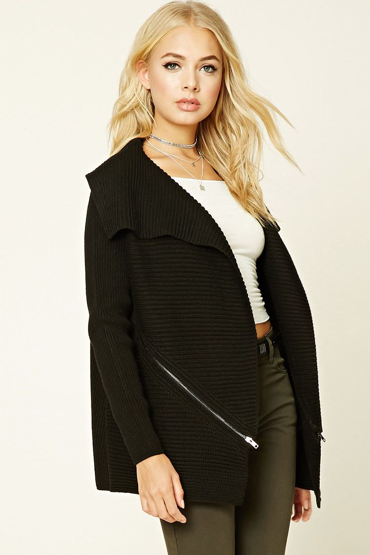 Forever 21  - A chunky ribbed knit cardigan sweater featuring asymmetrical side…