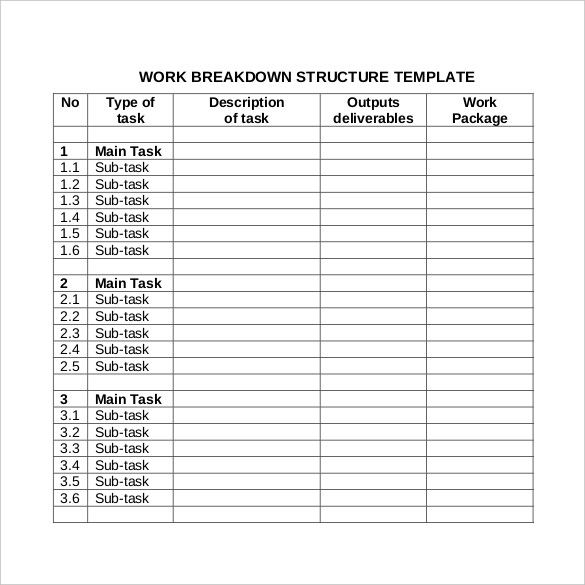 11 Work Breakdown Structure Templates Word Excel Pdf Templates