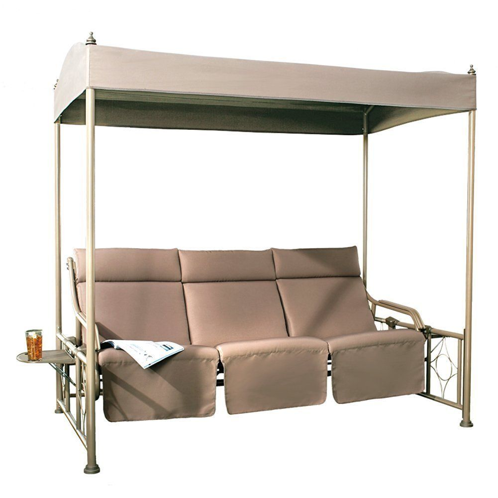 Abba patio tan steel frame person outdoor patio gazebo swing with