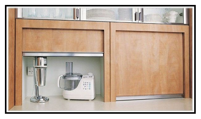 Roller Doors For Kitchen Cupboards. Kitchen Appliance Cupboard With Roller Door