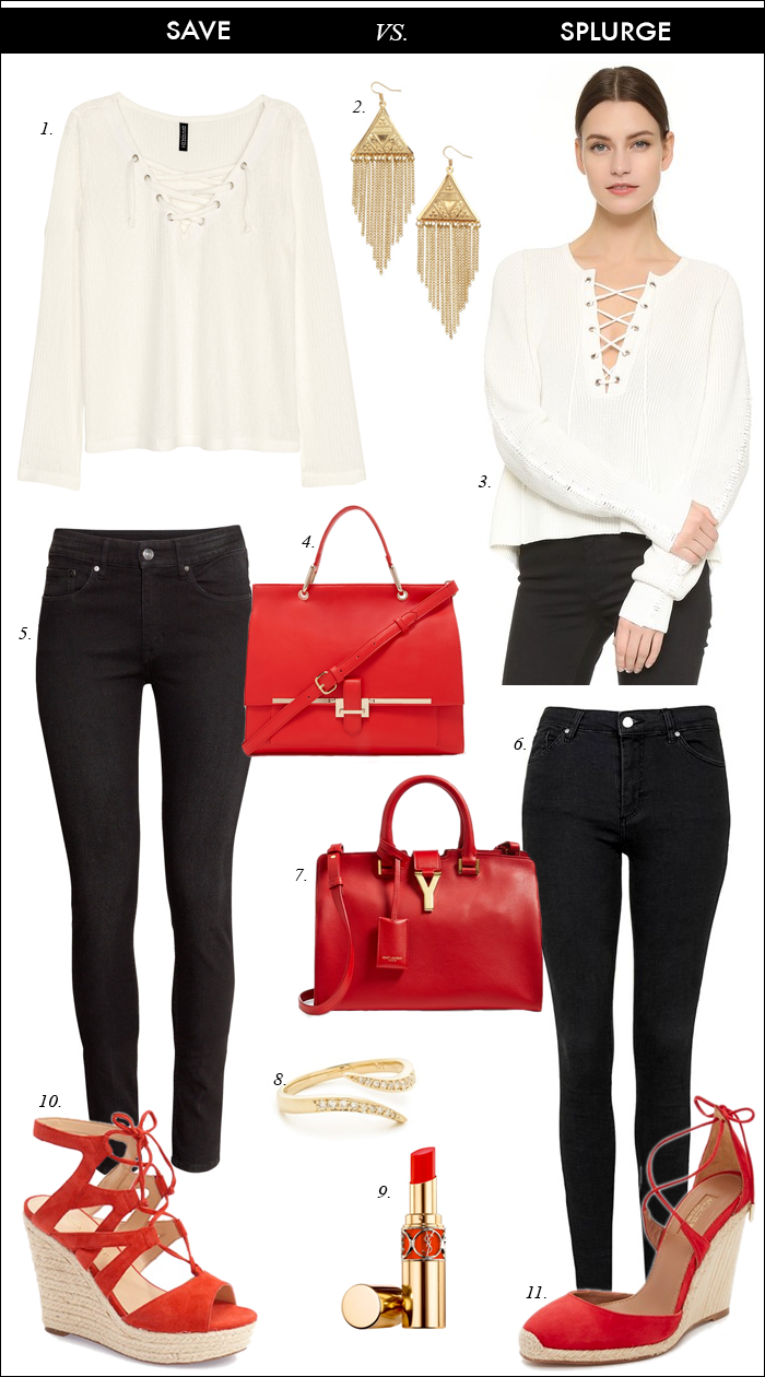 black skinny jeans, espadrille, wedge, sandals, YSL bag, red ...
