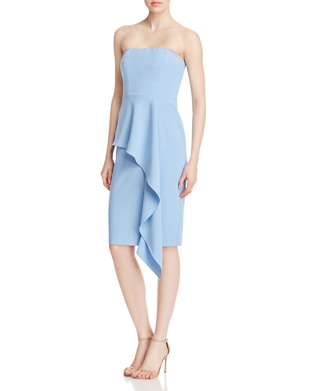 strapless blue ruffle dress
