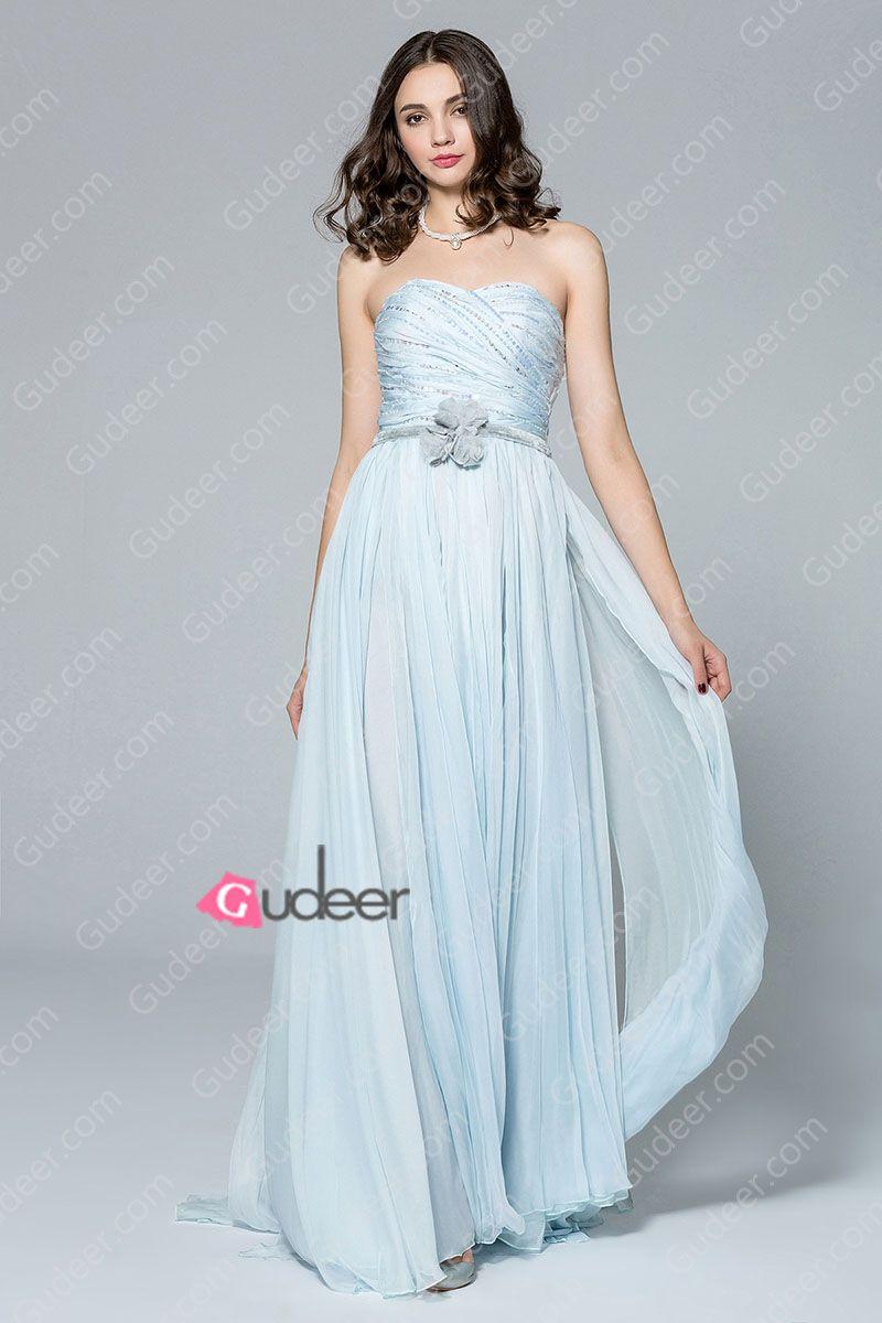 muted blue beaded long chiffon bridesmaid dress. cheap bridesmaid ...