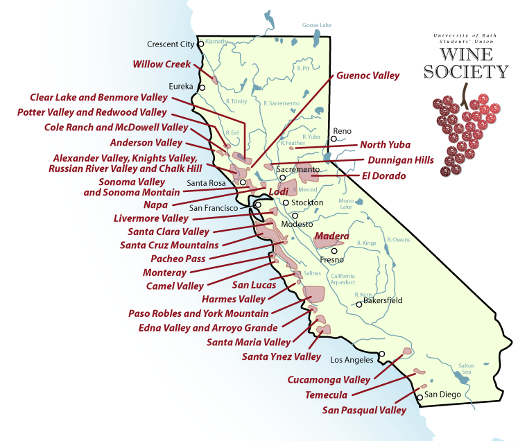 Northern California Wine Country Map Wine Society The - Us wine regions map