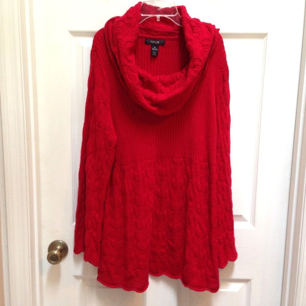 Style & Co 1X Amore Red Tunic Sweater Pullover Cowl Neck Rib and ...