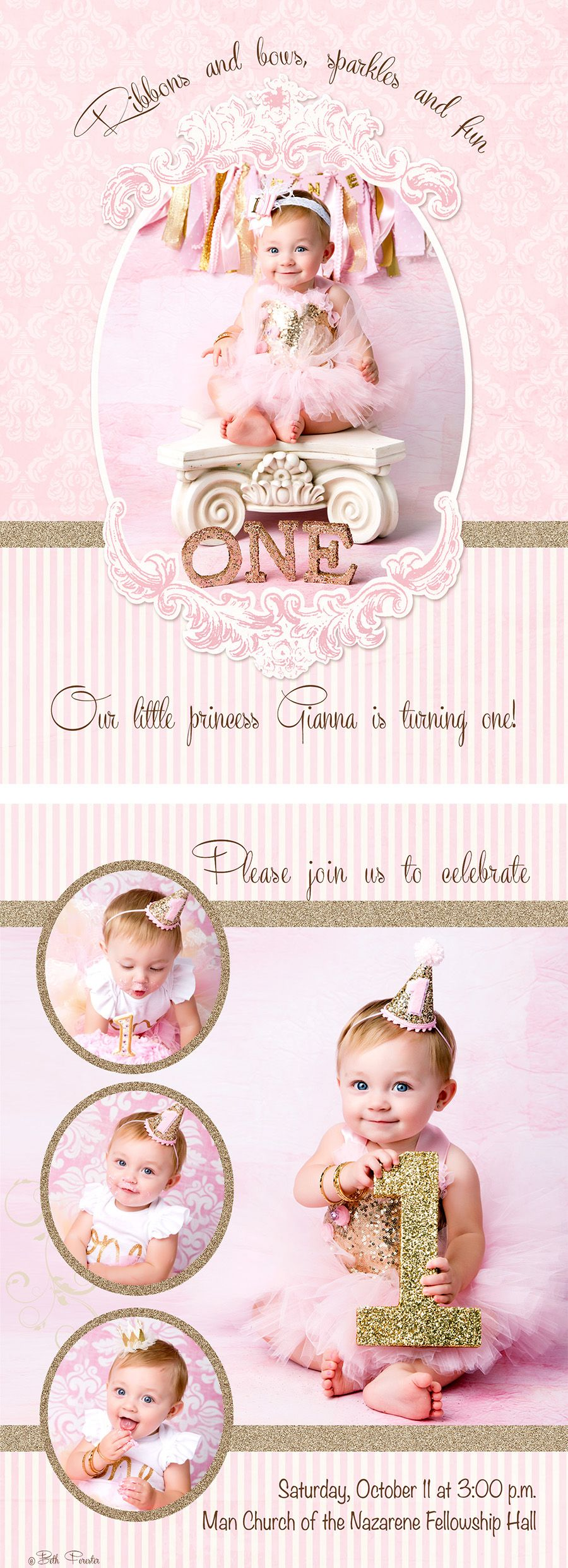 first birthday party invitation pink gold glitter cake