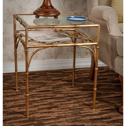 Antique Gold Bamboo Table With Beveled Glass Dessau Home End Tables Accent  Tables Living R