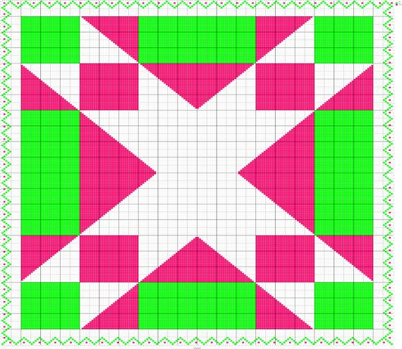 Fiber Art Designs for Intarsia & Fair Isle Knitting  This large Star Quilt Square Knitting Chart is worked across 200 stitches and 220 rows. This…