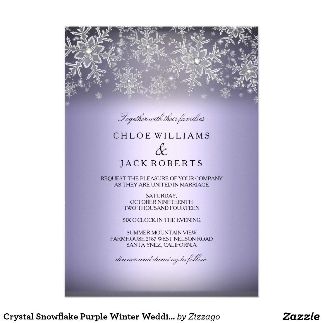 Strings Quotes Wallpaper Crystal Snowflake Purple Winter Wedding Invitation