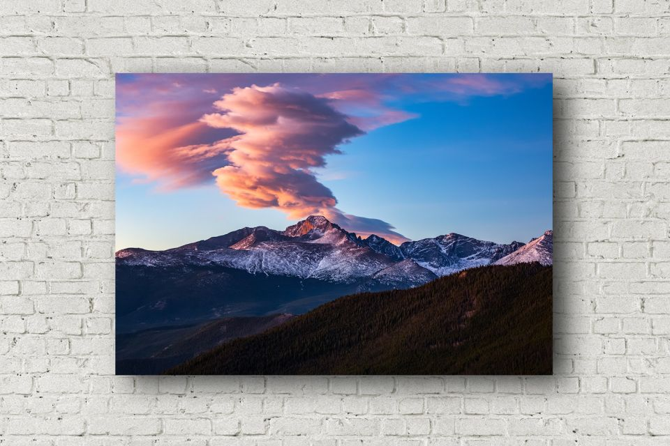 Colorado Mountain Canvas Wall Art Picture Of Longs Peak With Fiery Clouds Above At Sunrise Canvas Photography Mountain Canvas Photography Wall Art