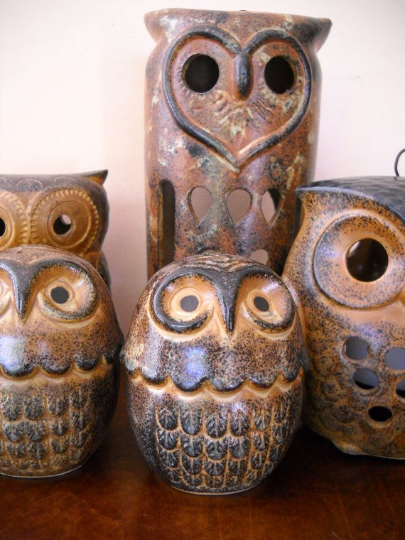 Vintage Pottery Stoneware Ceramic Owl Candle Holder Lantern Luminary Ceramic Owl Owl Candle Holder Vintage Pottery