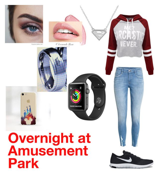 """""""Overnight at Amusement Park"""" by autumnn09 ❤ liked on Polyvore featuring H&M, WithChic, NIKE and Disney"""
