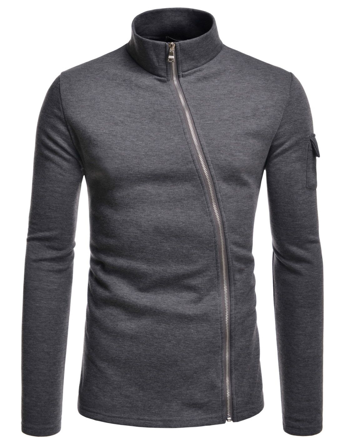 NKLCJ712) TheLees Mens Lightweight Turtleneck Unbalanced Zip-Up ...