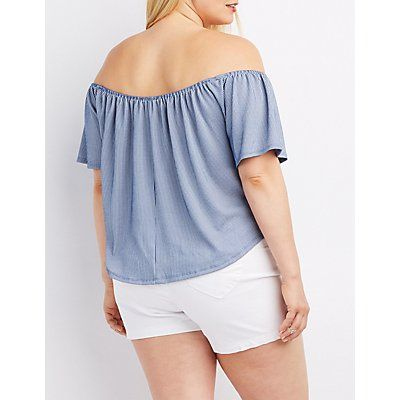 Ribbed Pinstripe Off-The-Shoulder Top