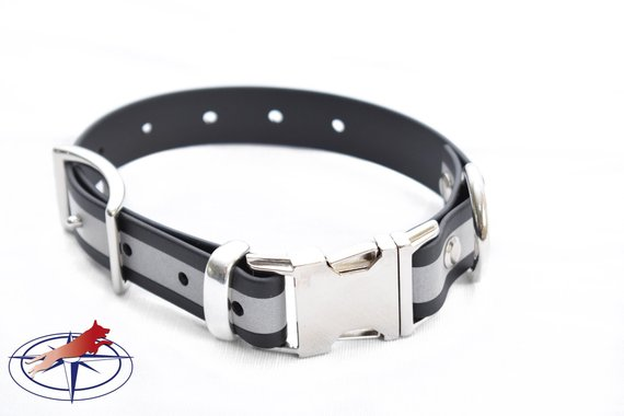 Black Biothane Quikr Dog Collar Black Reflective Collar Dogs