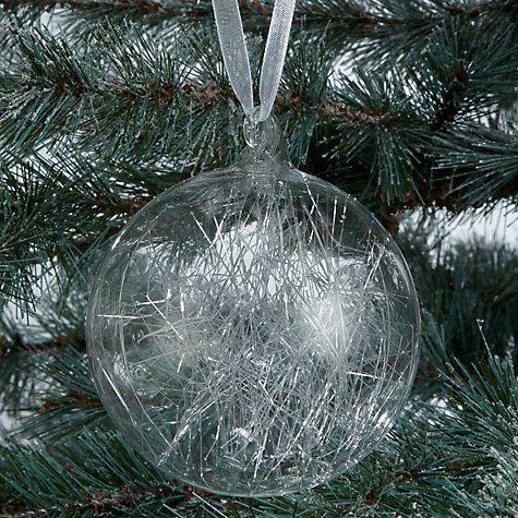 Buy john lewis snowdrift spun glass bauble clear online John lewis christmas ornaments
