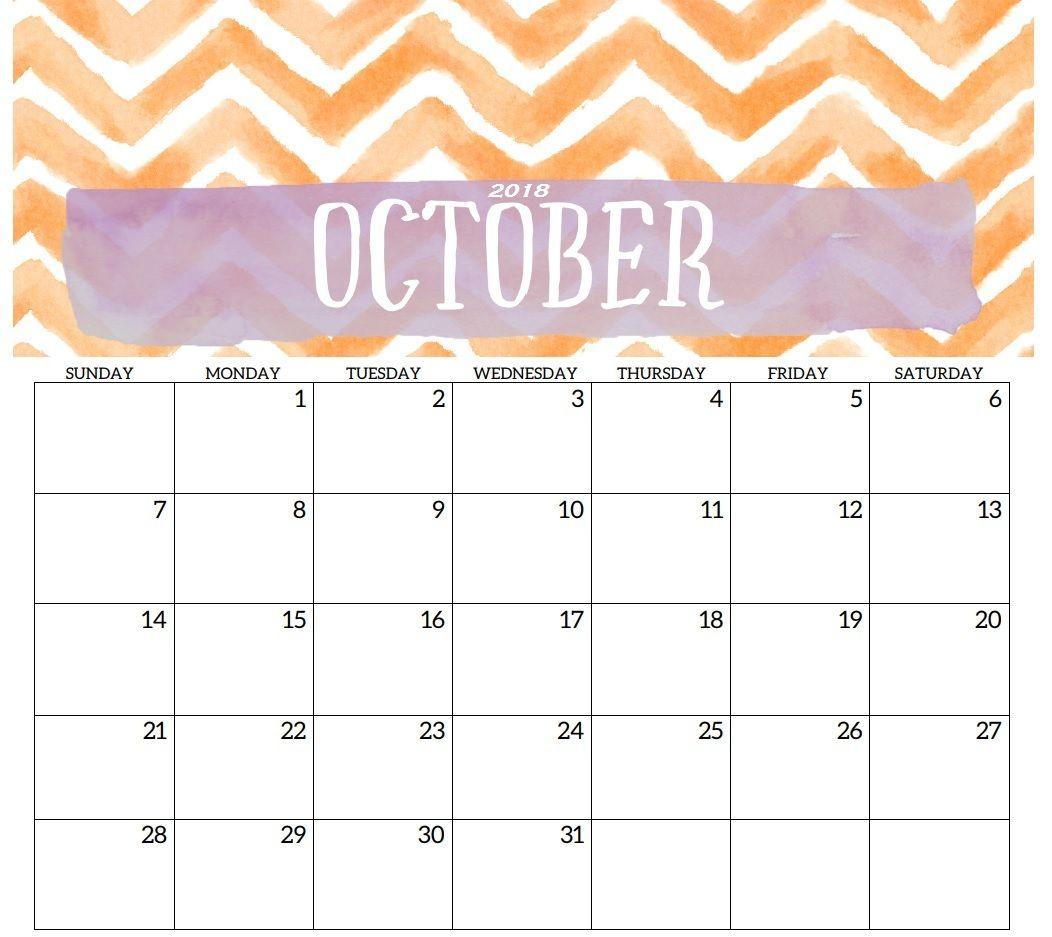 Calener October: October 2018 Calendar Design