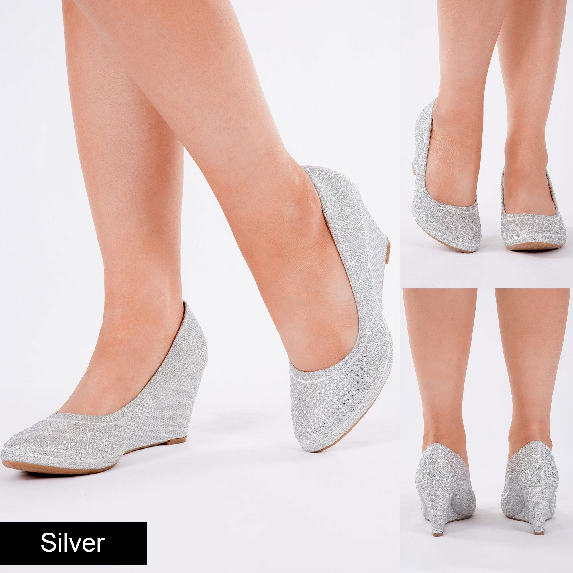 WOMENS WEDGE HEELS EVENING BRIDAL SHOES