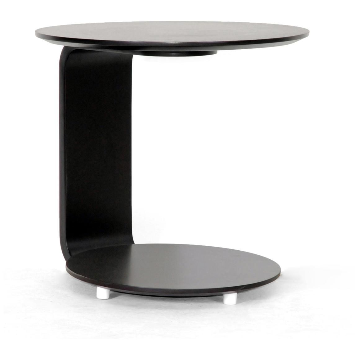 Attractive C Shaped Sofa Side Table Made Of Fiberglass In Black Finished With Rounded  Top And Pedestal