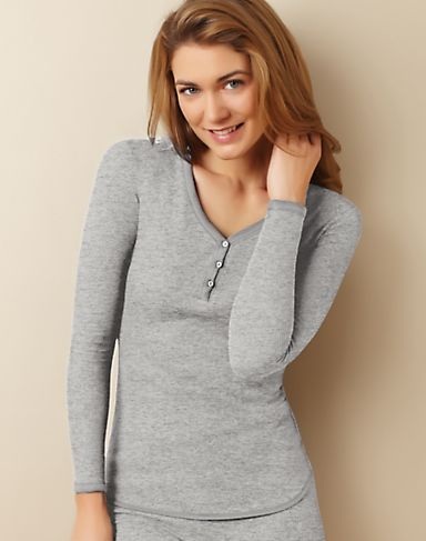 Cuddl Duds Cottony Thermal Women's Henley Top | CD8512290