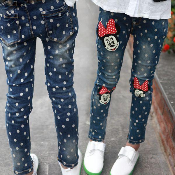 55f5a3ed210b Cheap Ropa 2016 de los niños de primavera y otoño chica minnie mouse dot  Jeans