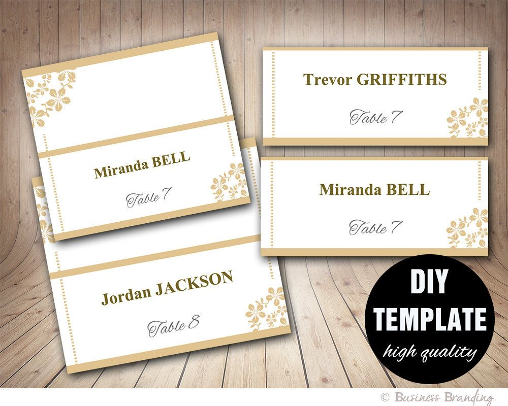 Wedding Gold Placecard Template Foldover Diy Gold Placecardinstant