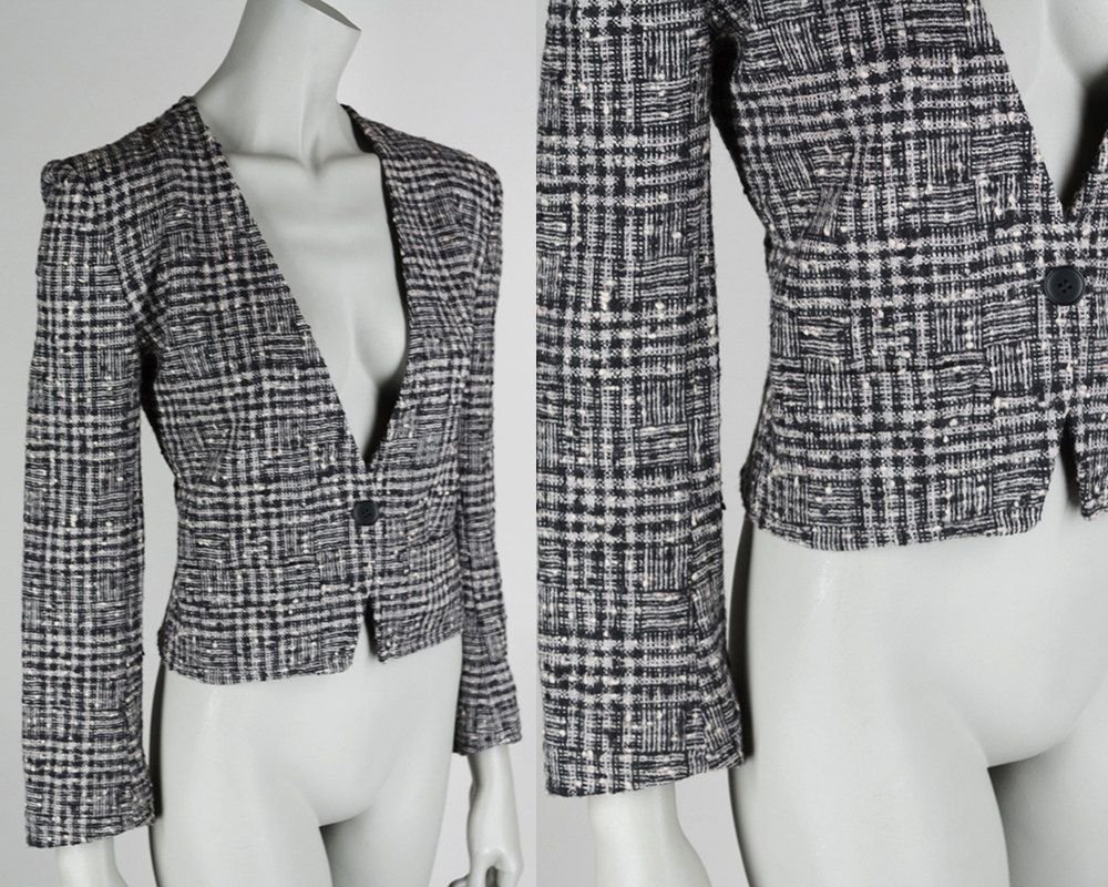 65ae98cf41f Vintage 90s Blazer/ 1990s Designer Sonia Rykiel Black and Cream Tweed Plaid  Blazer S M by FloriaVintage on Etsy