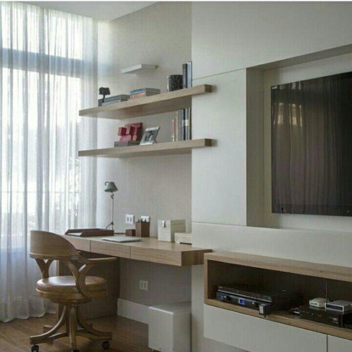 O cantinho pode ser office e quem sabe adaptável para penteadeira, com a possibilidade de levantar a tampa com espelho.