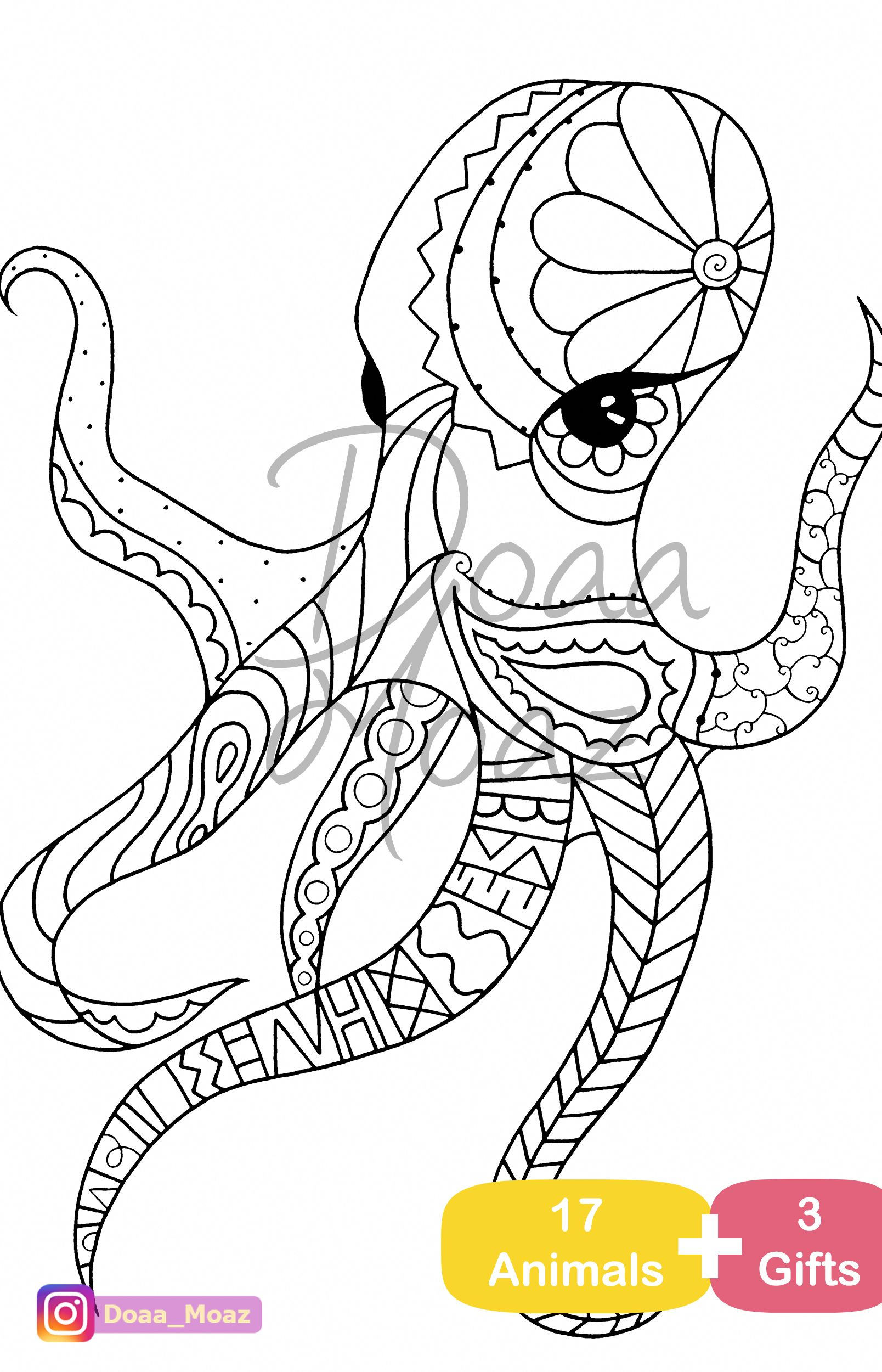 Adult Coloring Book 17 Animals Coloring Pages Pdf Printable Anti