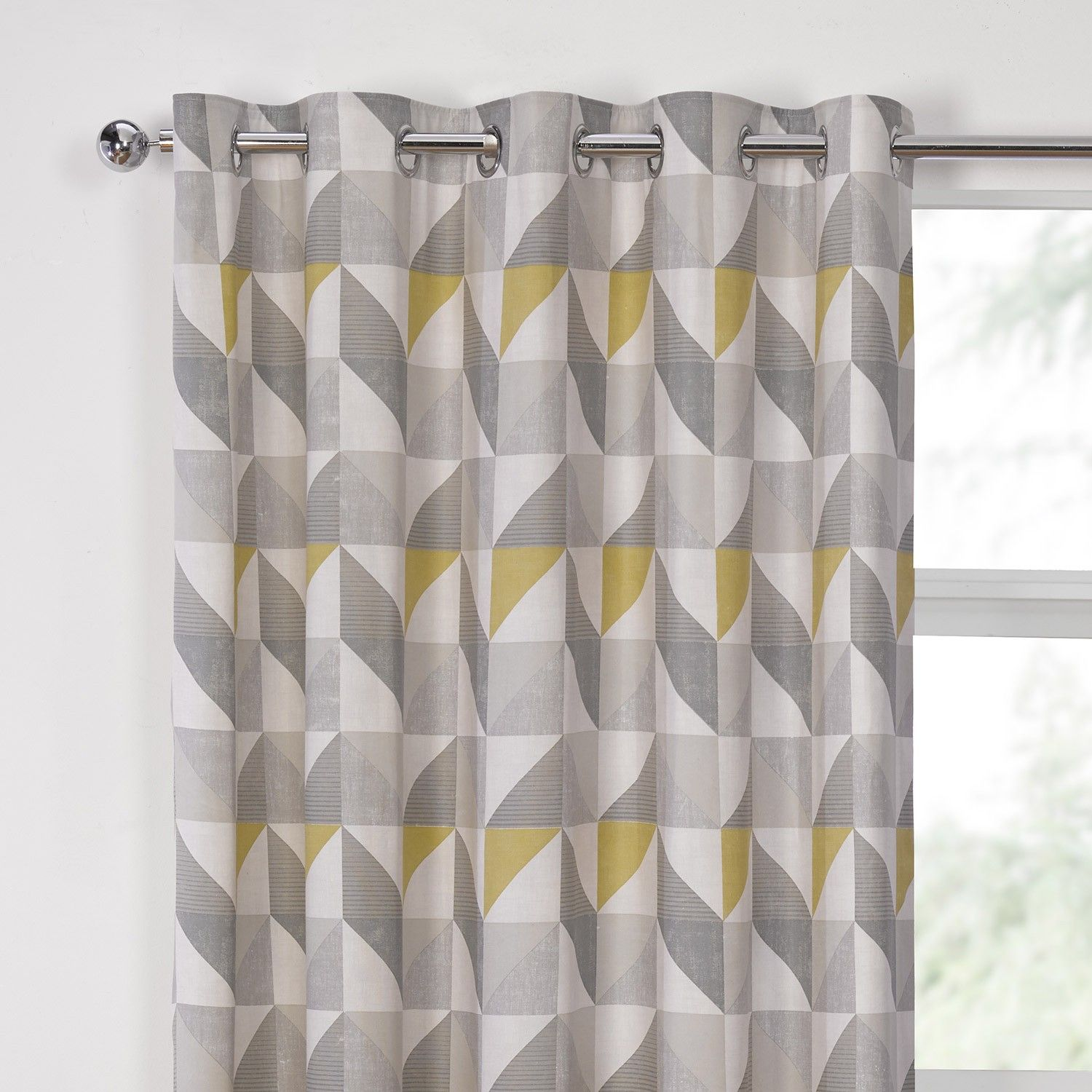 Delta Grey U0026 Yellow Luxury Lined Eyelet Curtains (Pair)   Julian Charles