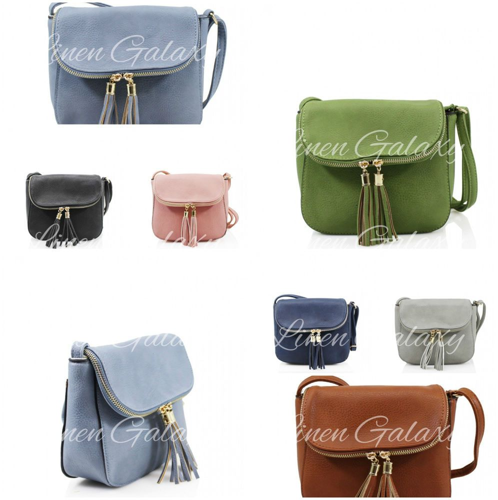 86b922ab40321 Ladies Women 2027 Small Zip Tassel Crossbody Bags GIrls Phone Pouch  Shoulder Bag