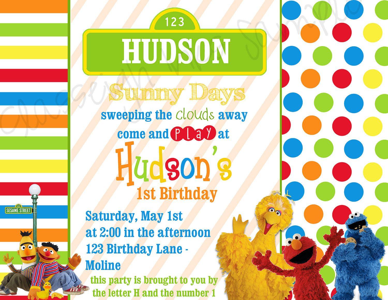 sesame street birthday party invitation kids big bird elmo cookie