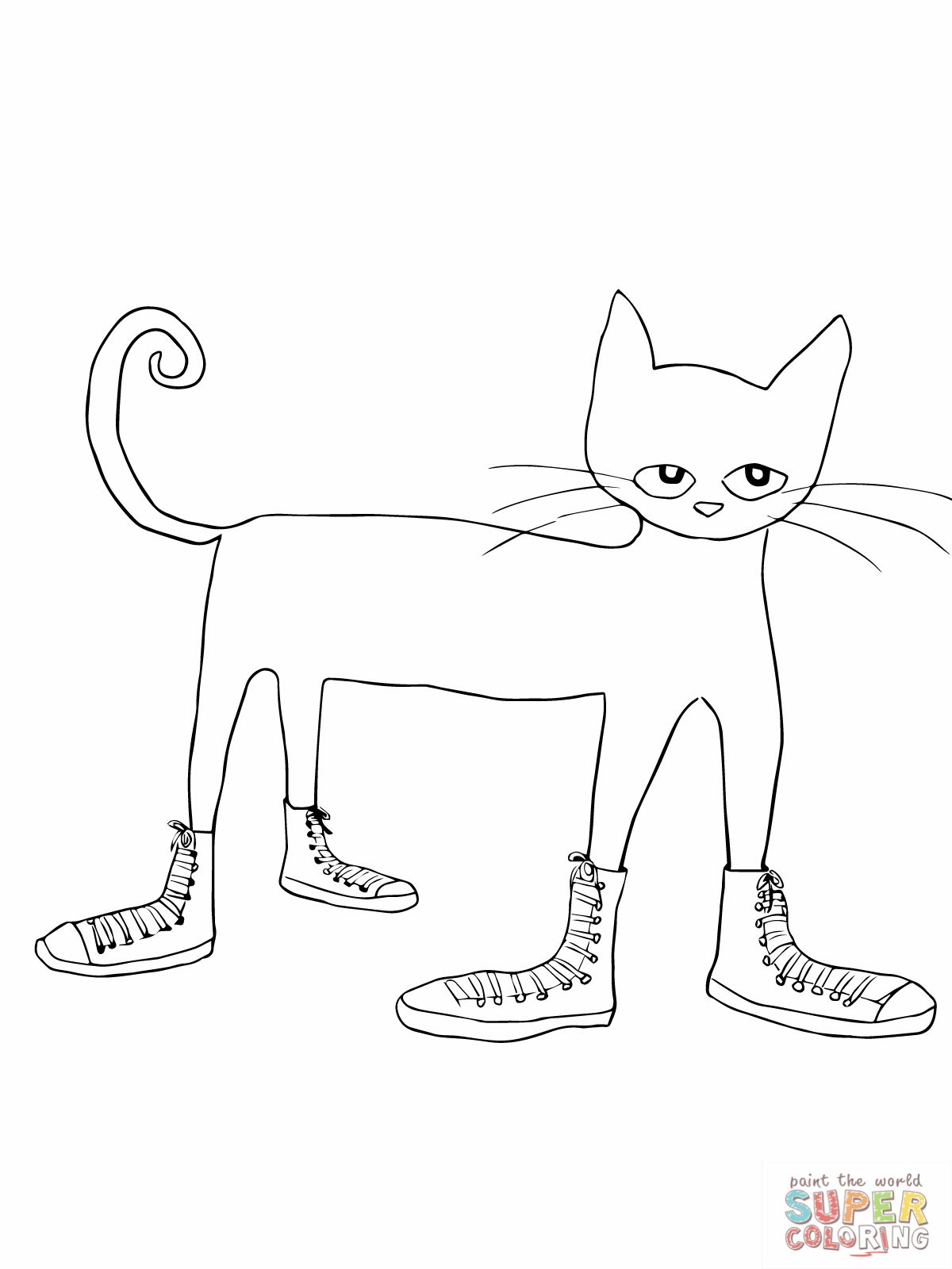 Pete The Cat I Love My White Shoes Coloring Page 1 200