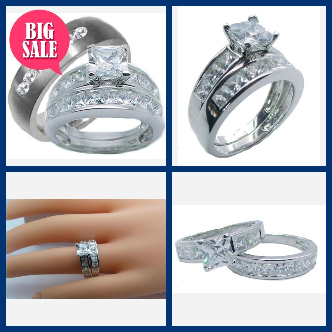 3 Pieces His Her Wedding Ring Set Sterling Silver Titanium Cz Wedding Ring Set Cz Wedding Ring Sets Wedding Ring Sets Cz Wedding Rings