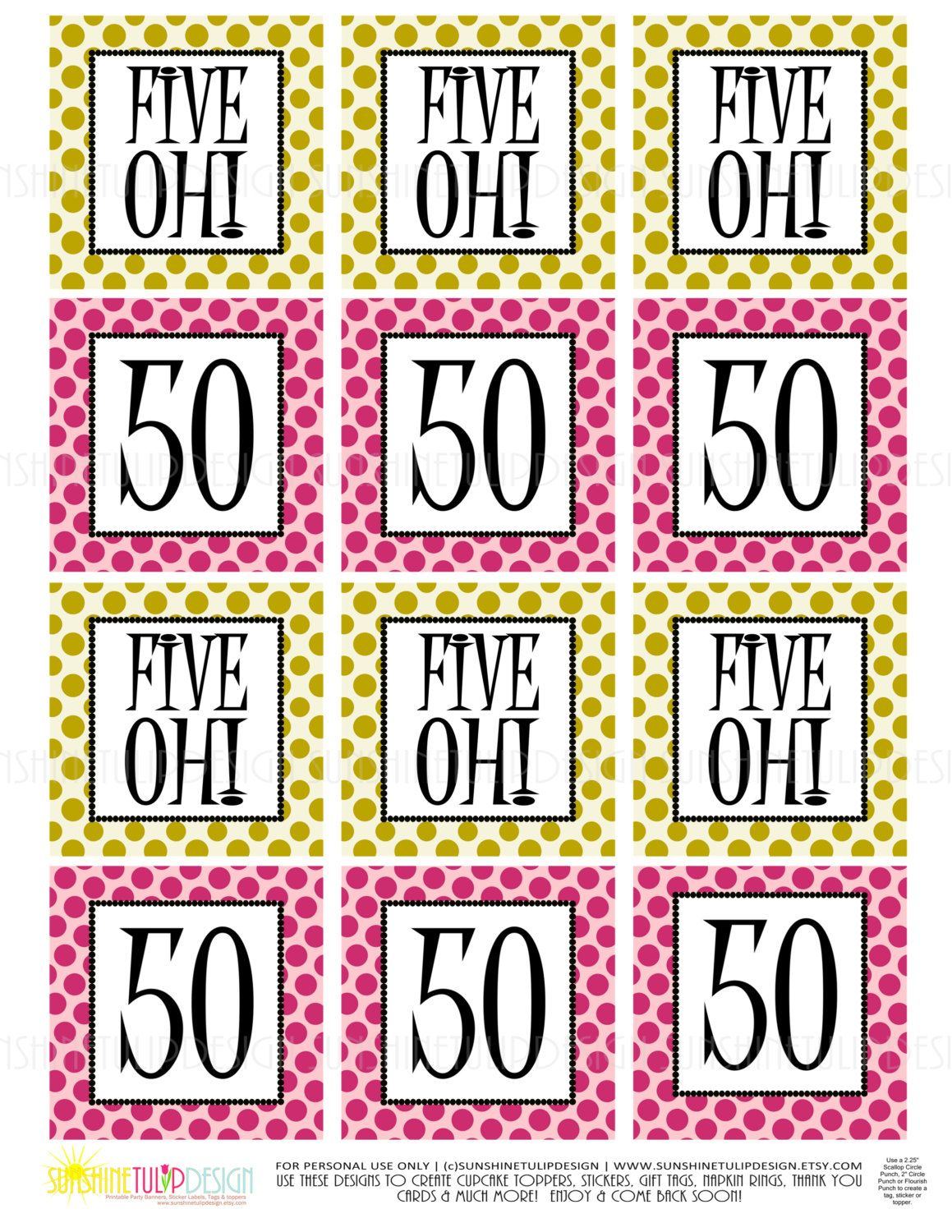 Gold Pink Polka Dots For This 50th Birthday Five Oh Printable Gift Tags Cupcake Toppers Sticker Labels By SUNSHINETULIPDESIGN Sunshinetulipdesign On