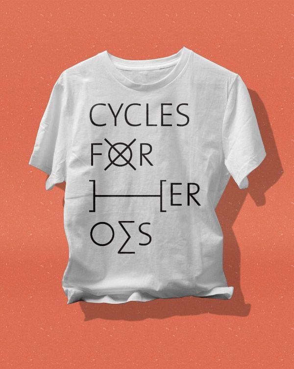 """Cycles For Heroes"" tee by Marcel Häusler › http://www.marcelhaeusler.de/tees-fixie-inc/"