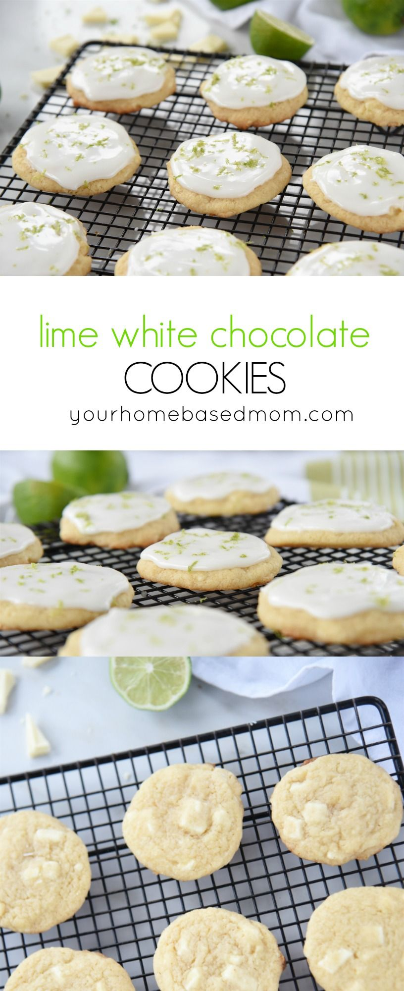 Lime White Chocolate Cookies Recipe - These are the perfect blend of flavors with white chocolate chunks and lime glaze on top.