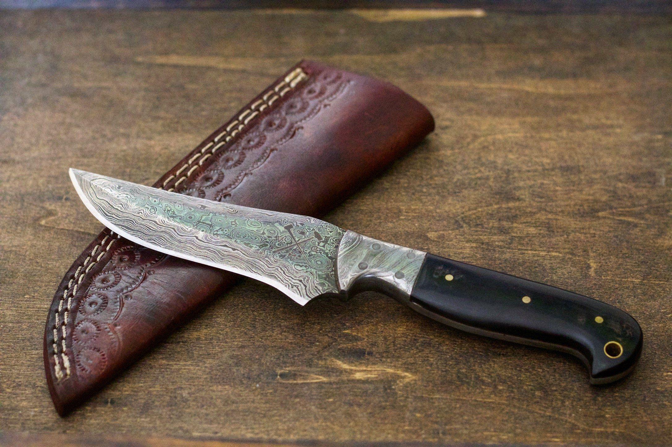 Damascus Steel Hunting Knife Buffalo Horn Handle Model Vg11 Hunting Knife Knife Damascus Steel