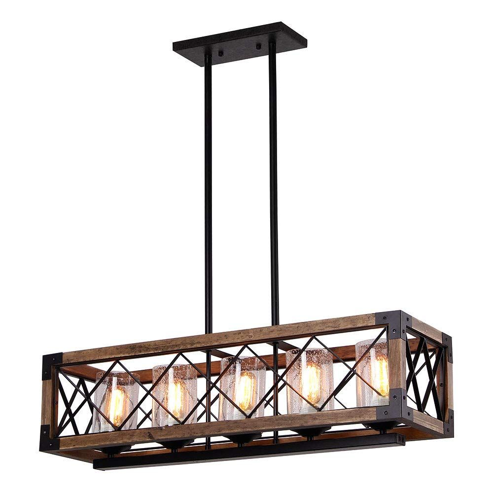 250 Giluta Rectangle Wood Metal Pendant Light Kitchen Island Chandelier Black Finish Rustic Island Lighting Farmhouse Rustic Light Fixtures Farmhouse Island