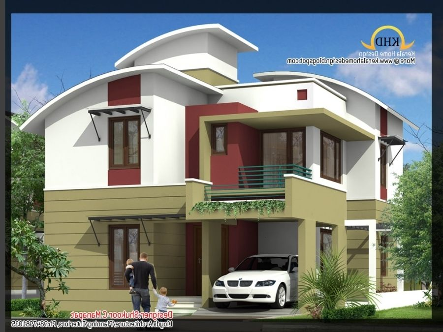 3-BED ROOM CONTEMPORARY HOME Part - 47: 2035 Sq Ft 4 Bedroom Contemporary Villa Elevation And Plan Home Regarding  Low Budget Modern 3