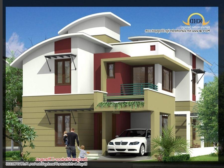 2035 Sq Ft 4 Bedroom Contemporary Villa Elevation And Plan Home Regarding Low Budget Modern 3