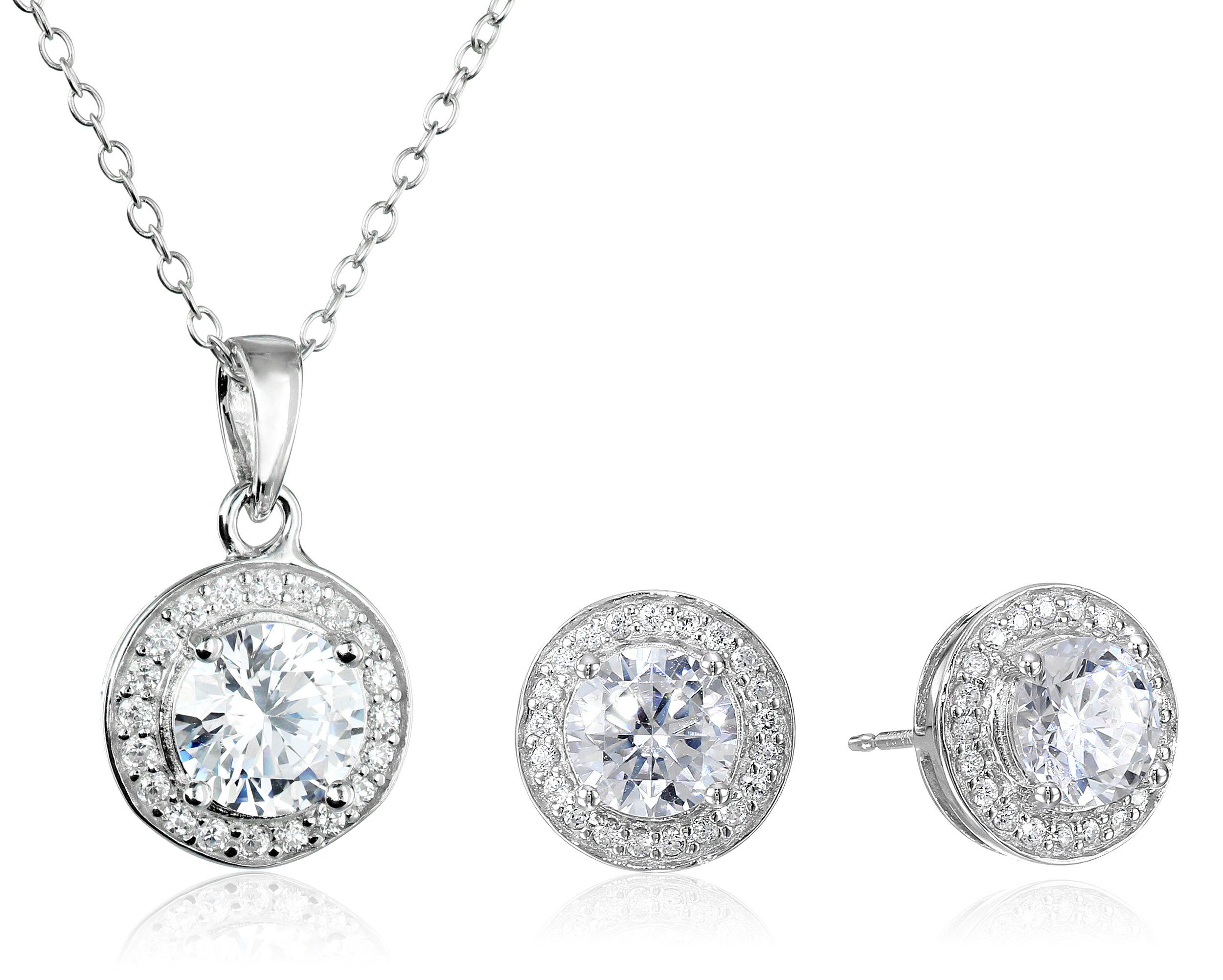 """Sterling Silver Cubic Zirconia Round Halo Earrings and Pendant Necklace Jewelry Set, 18"""""""