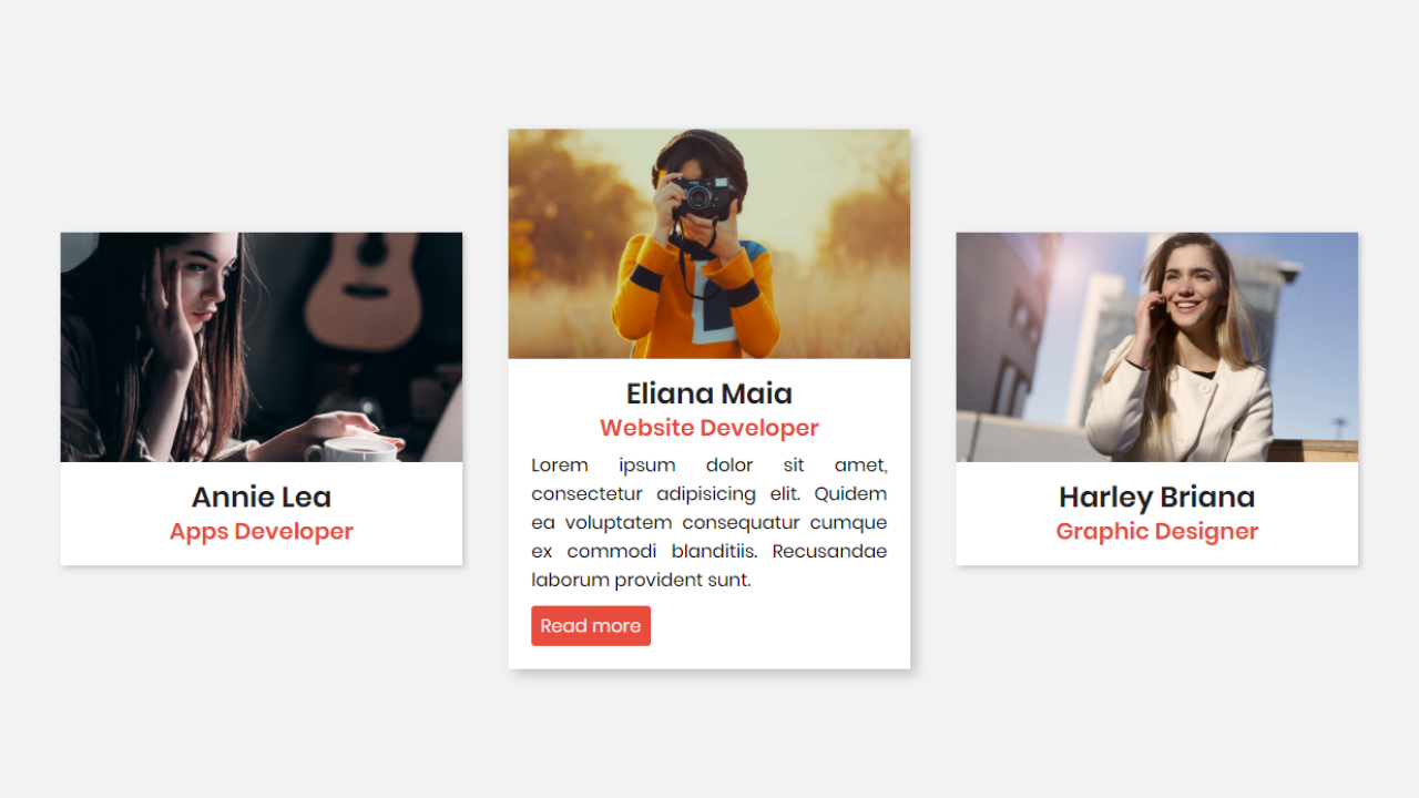 As You Can See In The Image These Are Profile Cards Which Is Based In Only Html Css At First These Cards In The Initial Stage Wher Card Design Html