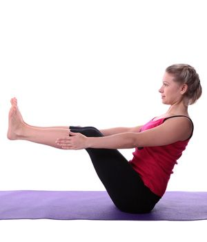 yoga exercises and workouts halfboat pose  sit straight