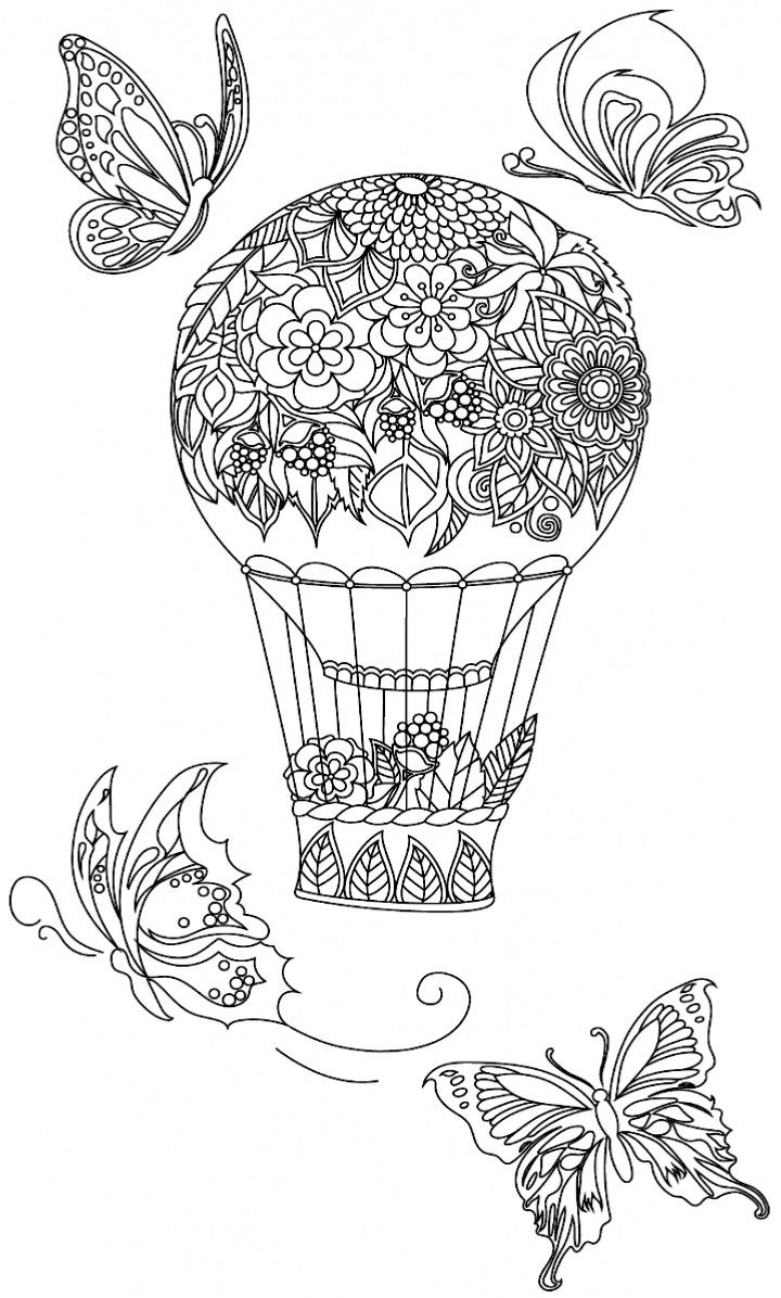 Floral hot air balloon coloring page  Coloring pages, Butterfly
