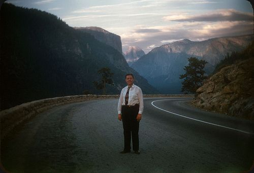 Half-Dome, Yosemite, 1947. Note the gun in his waistband! © Original 35mm Kodachrome slide transparency