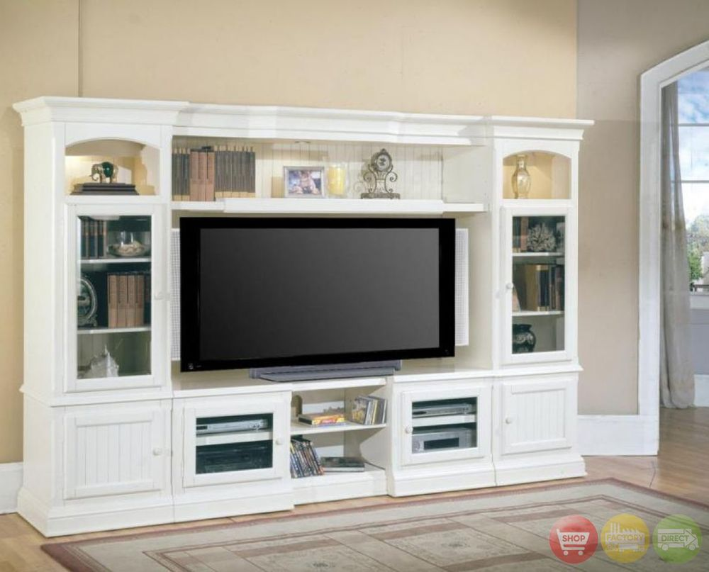 Hartford 4 piece traditional vintage white wall unit tv for Traditional wall units