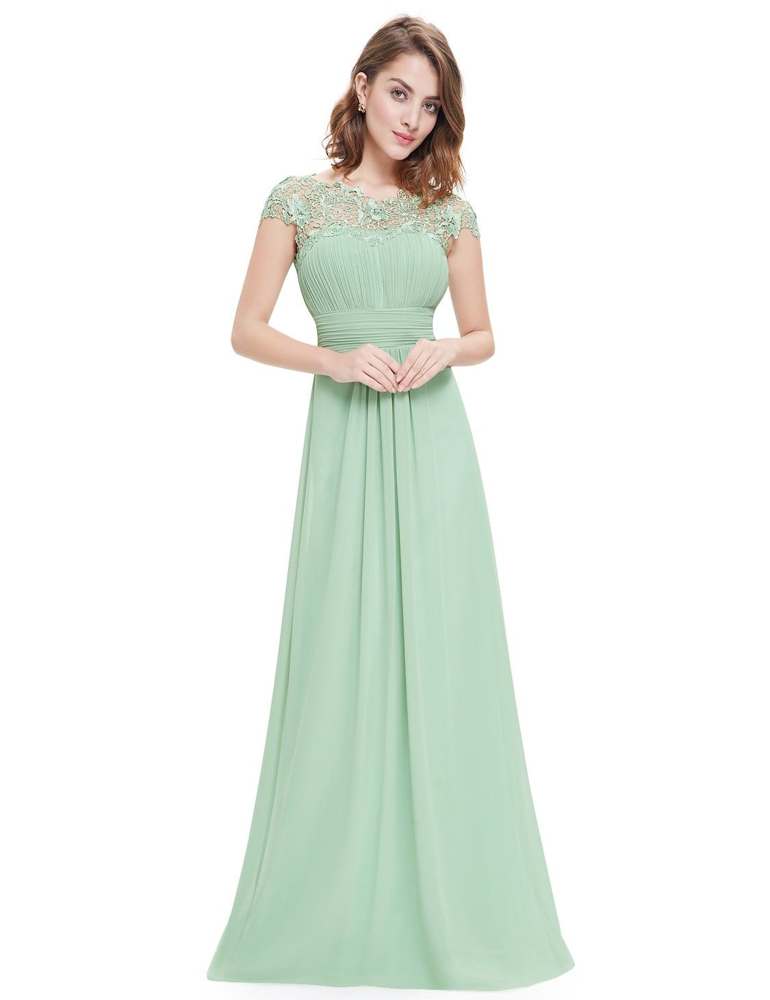 Lace cap sleeve evening gown gowns