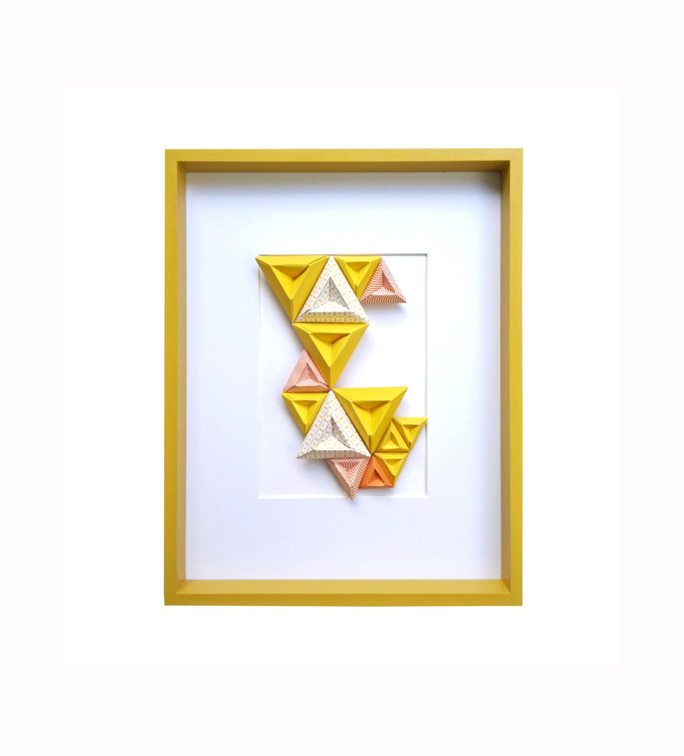Wooden frame origami paper geometric triangle handcrafted - Birth ...
